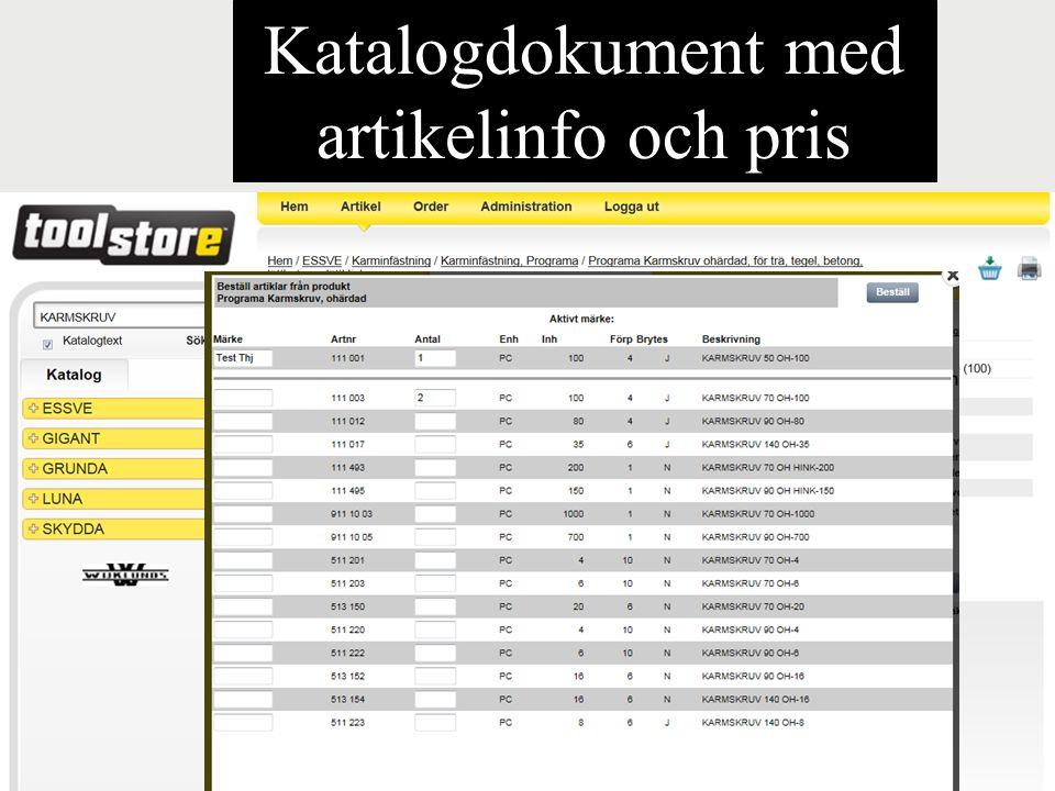 Katalogdokument med artikelinfo och pris