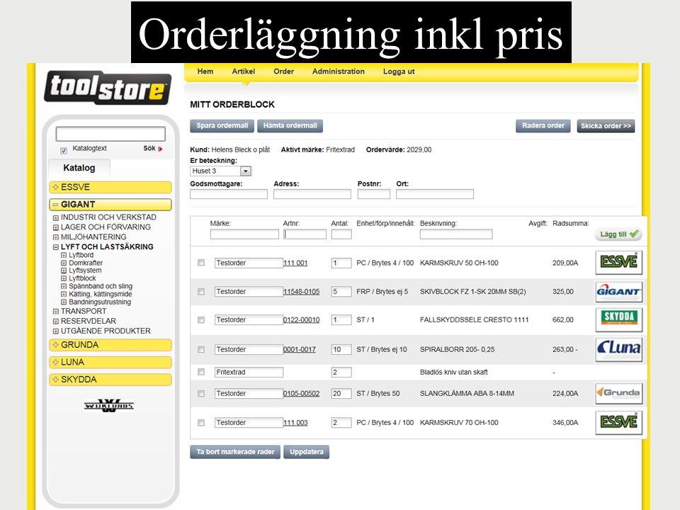 Orderläggning inkl pris