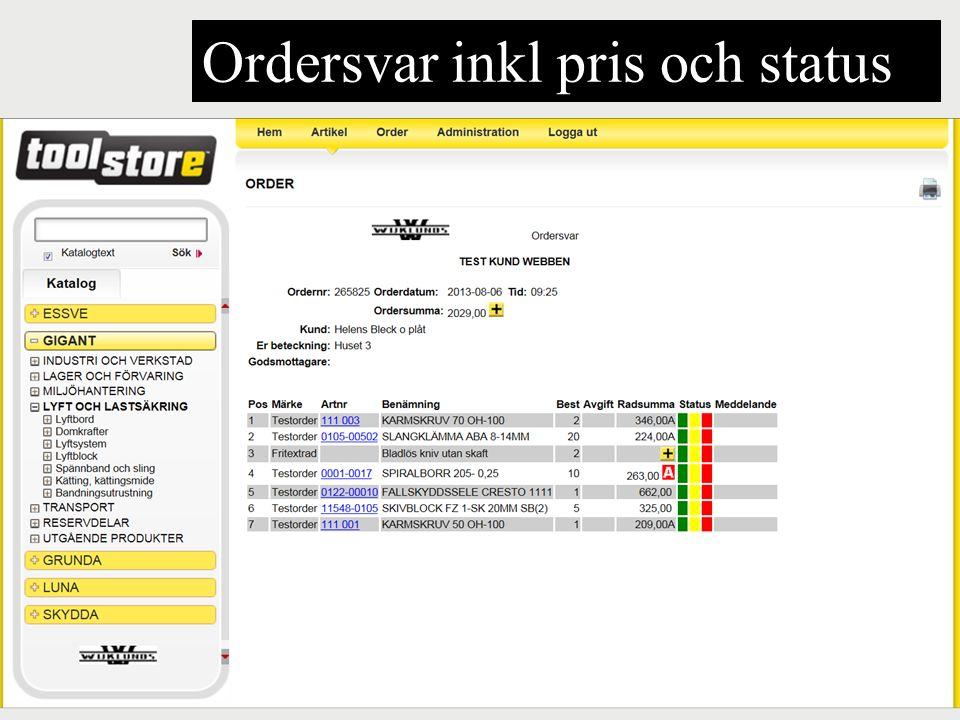 Ordersvar inkl pris och status