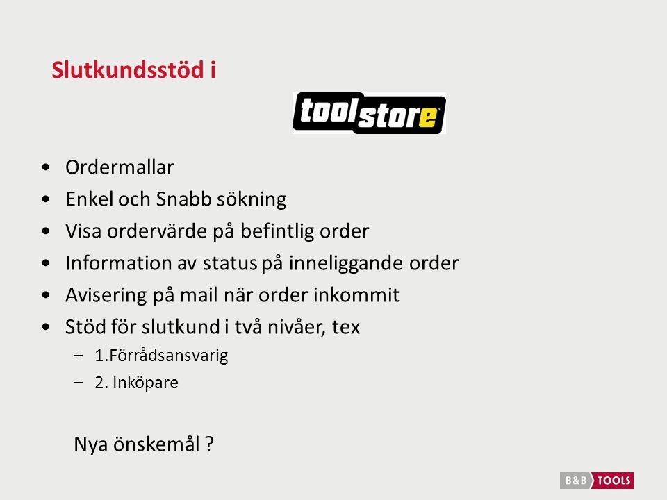 Slutkundsstöd i Ordermallar Enkel och Snabb sökning Visa ordervärde på befintlig order Information av status på inneliggande order Avisering på mail när order inkommit Stöd för slutkund i två nivåer, tex –1.Förrådsansvarig –2.