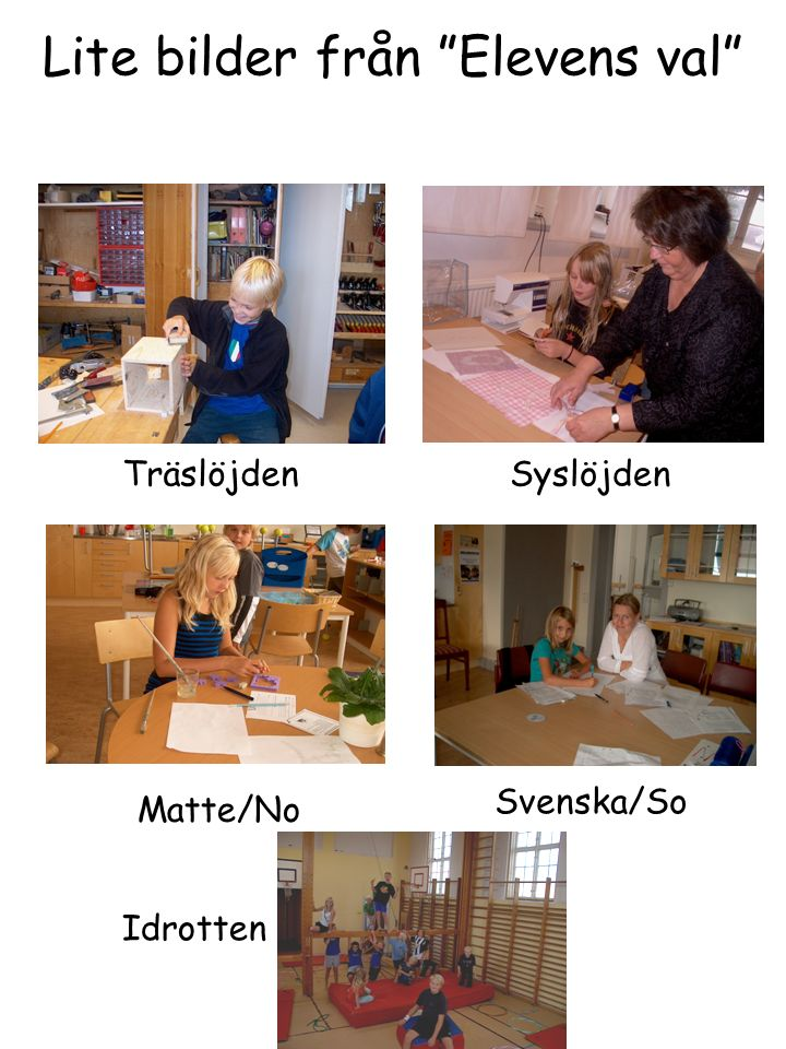Lite bilder från Elevens val TräslöjdenSyslöjden Matte/No Svenska/So Idrotten