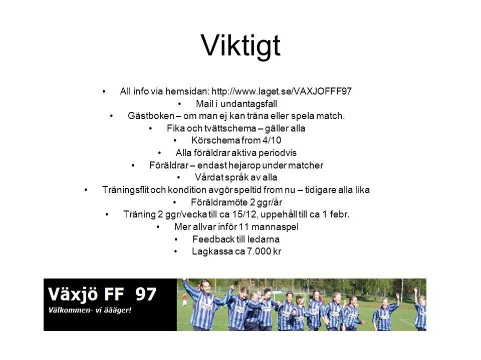 Viktigt All info via hemsidan: http://www.laget.se/VAXJOFFF97 Mail i undantagsfall Gästboken – om man ej kan träna eller spela match. Fika och tvättsc