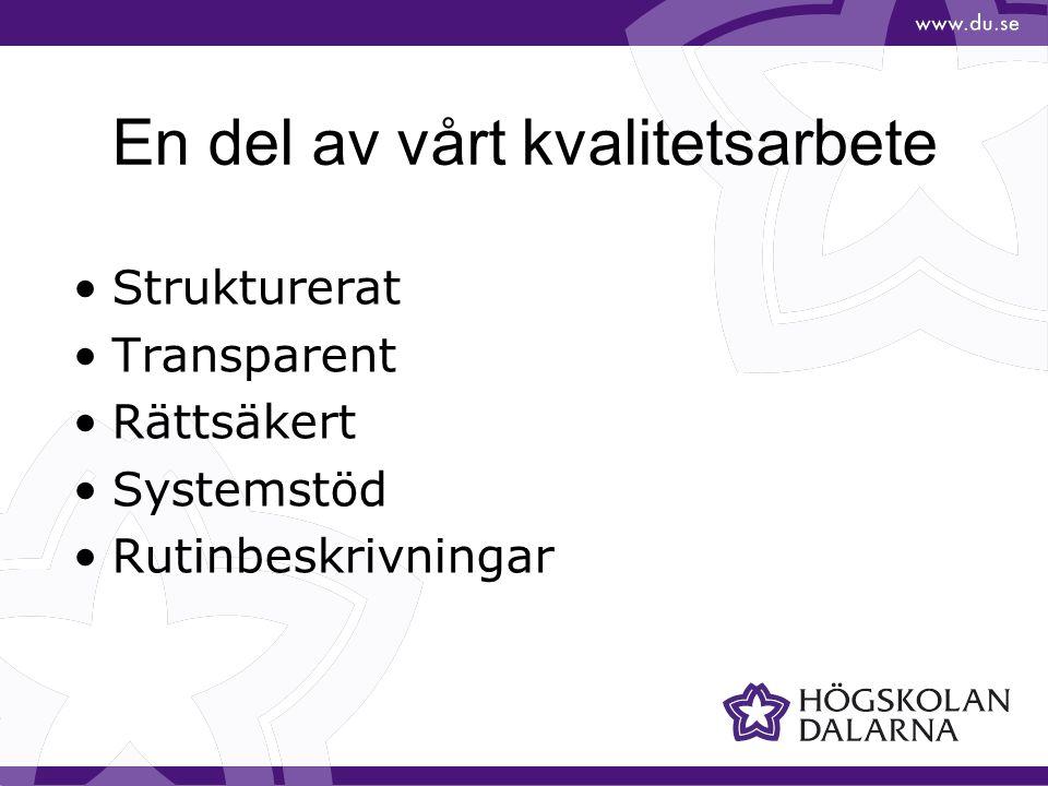 En del av vårt kvalitetsarbete Strukturerat Transparent Rättsäkert Systemstöd Rutinbeskrivningar