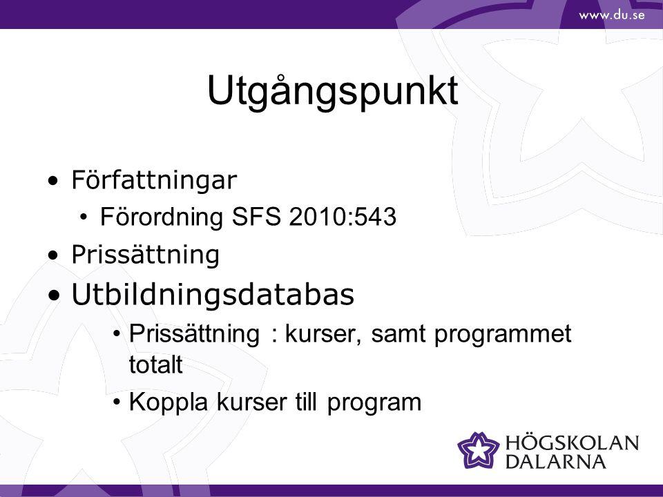 Utgångspunkt Författningar Förordning SFS 2010:543 Prissättning Utbildningsdatabas Prissättning : kurser, samt programmet totalt Koppla kurser till program