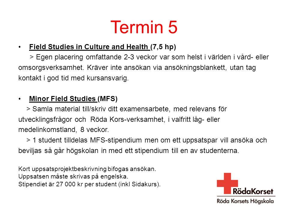 Termin 5 Field Studies in Culture and Health (7,5 hp) > Egen placering omfattande 2-3 veckor var som helst i världen i vård- eller omsorgsverksamhet.