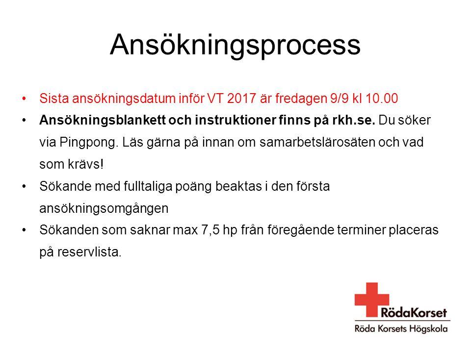 Ansökningsprocess Sista ansökningsdatum inför VT 2017 är fredagen 9/9 kl 10.00 Ansökningsblankett och instruktioner finns på rkh.se. Du söker via Ping