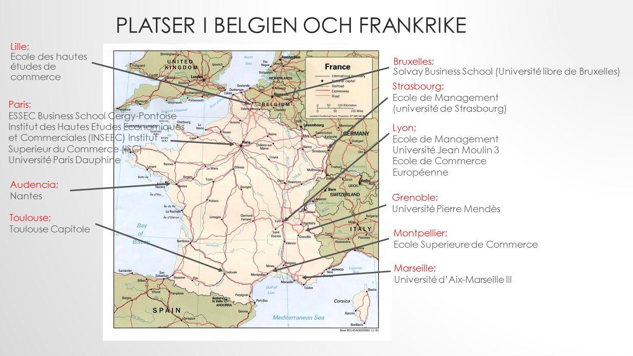 PLATSER I BELGIEN OCH FRANKRIKE Strasbourg; Ecole de Management (université de Strasbourg) Paris; ESSEC Business School Cergy-Pontoise Institut des Ha