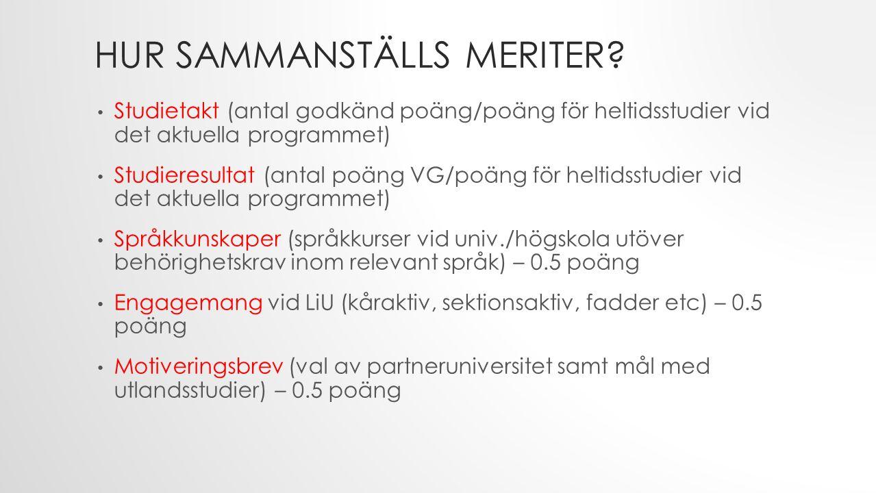 HUR SAMMANSTÄLLS MERITER.
