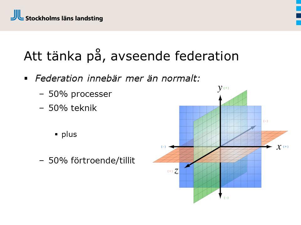  Federation innebär mer än normalt: –50% processer –50% teknik  plus –50% förtroende/tillit Att tänka på, avseende federation