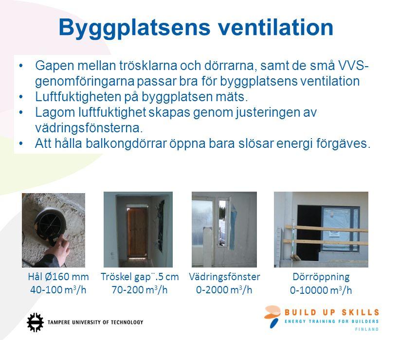 Gapen mellan trösklarna och dörrarna, samt de små VVS- genomföringarna passar bra för byggplatsens ventilation Luftfuktigheten på byggplatsen mäts. La