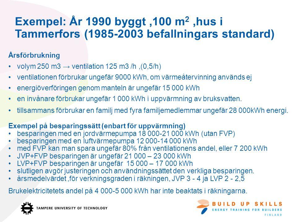 Exempel: År 1990 byggt,100 m 2,hus i Tammerfors (1985-2003 befallningars standard) Årsförbrukning volym 250 m3 → ventilation 125 m3 /h,(0,5/h) ventilationen förbrukar ungefär 9000 kWh, om värmeåtervinning används ej energiöverföringen genom manteln är ungefär 15 000 kWh en invånare förbrukar ungefär 1 000 kWh i uppvärmning av bruksvatten.