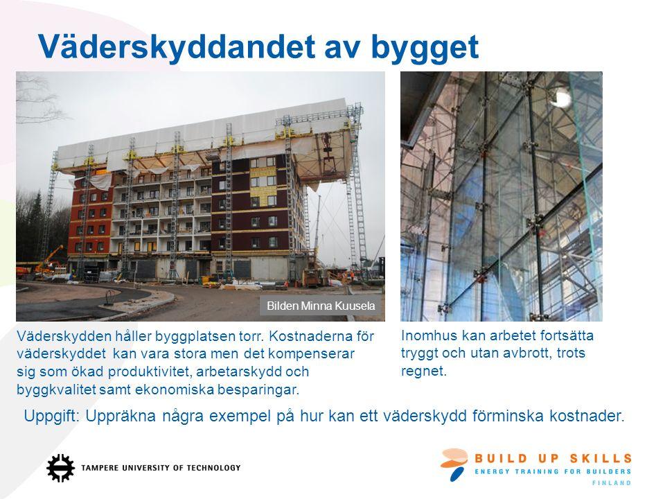 Väderskyddandet av bygget Väderskydden håller byggplatsen torr.