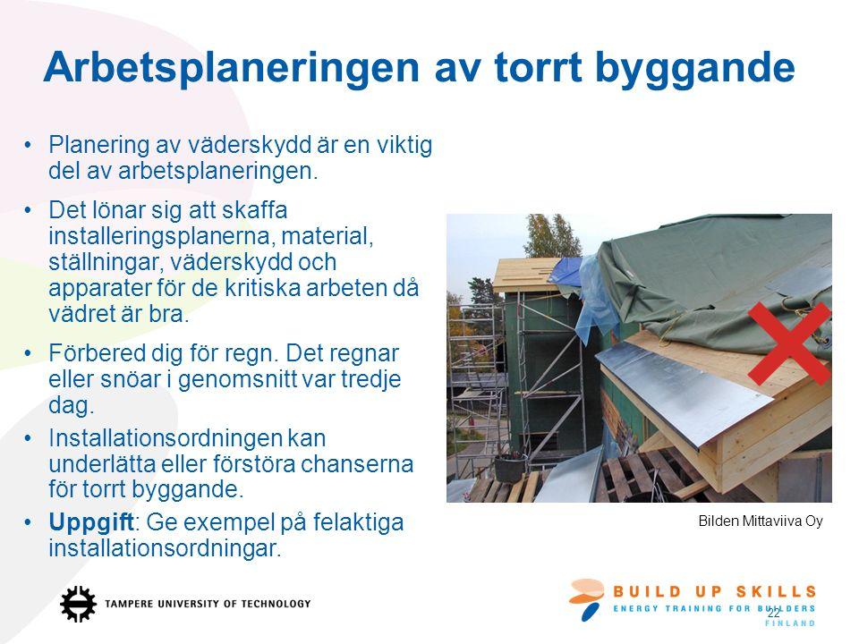 Arbetsplaneringen av torrt byggande Planering av väderskydd är en viktig del av arbetsplaneringen.