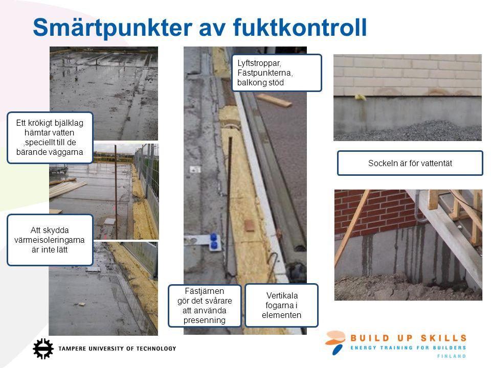 Från betongbjälklag rinner det ofta mycket regnvatten till värmeisoleringarna.