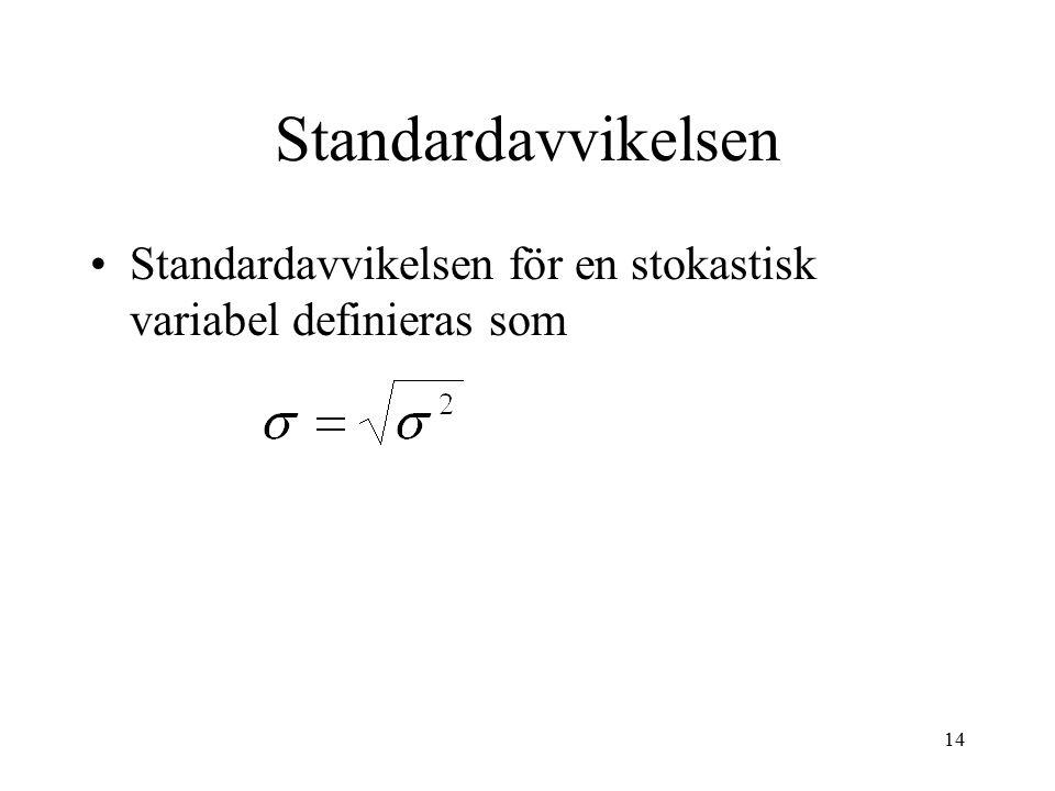 14 Standardavvikelsen Standardavvikelsen för en stokastisk variabel definieras som