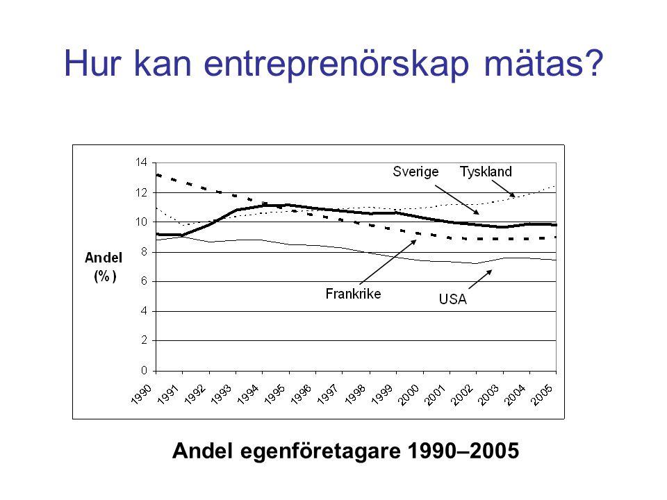 Andel egenföretagare 1990–2005 Hur kan entreprenörskap mätas