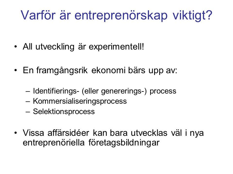 Varför är entreprenörskap viktigt. All utveckling är experimentell.