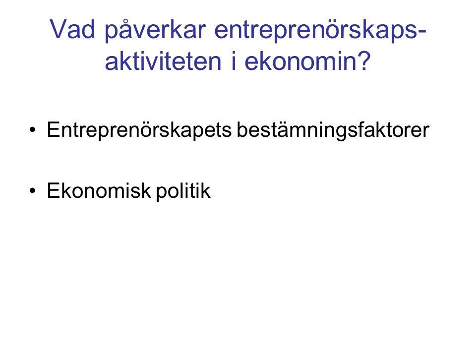 Vad påverkar entreprenörskaps- aktiviteten i ekonomin.