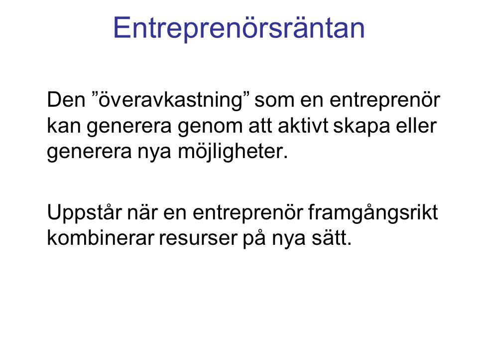Entreprenörsräntan Den överavkastning som en entreprenör kan generera genom att aktivt skapa eller generera nya möjligheter.
