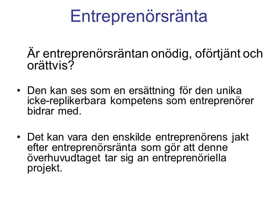 Entreprenörsränta Är entreprenörsräntan onödig, oförtjänt och orättvis.