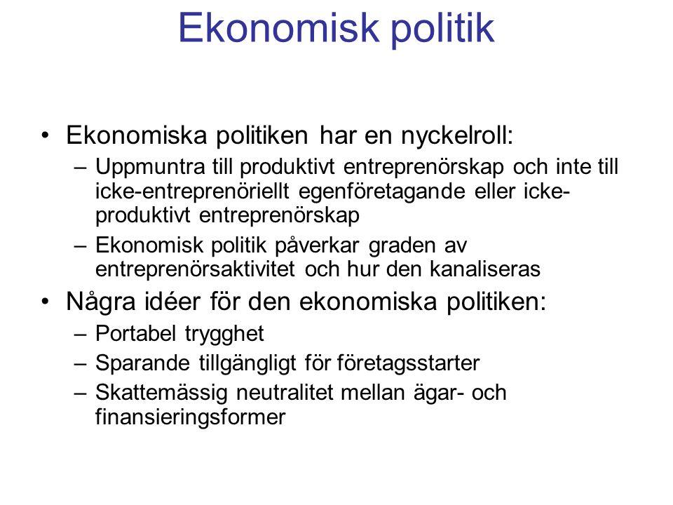Ekonomisk politik Ekonomiska politiken har en nyckelroll: –Uppmuntra till produktivt entreprenörskap och inte till icke-entreprenöriellt egenföretagande eller icke- produktivt entreprenörskap –Ekonomisk politik påverkar graden av entreprenörsaktivitet och hur den kanaliseras Några idéer för den ekonomiska politiken: –Portabel trygghet –Sparande tillgängligt för företagsstarter –Skattemässig neutralitet mellan ägar- och finansieringsformer