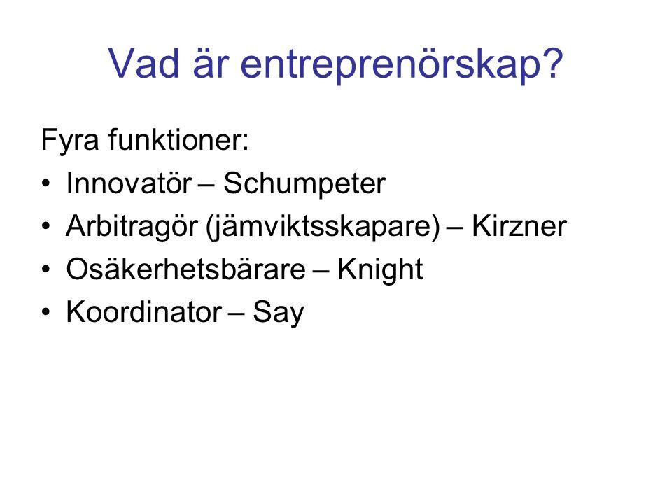 Kommersialisering av en idé genom (A) nyinträde och (B) försäljning Entreprenör med idé Start av verksamhet Entreprenörs- företag MARKNADMARKNAD Finansiering genom lån Egen utveckling Kommersia- lisering A Entreprenör med idé Start av verksamhet Entreprenörs- företag Finansiering genom venturekapitalist Utveckling med stöd av venturekapitalist Kommersia- lisering B Etablerat företag Försäljning med stöd av venturekapitalist