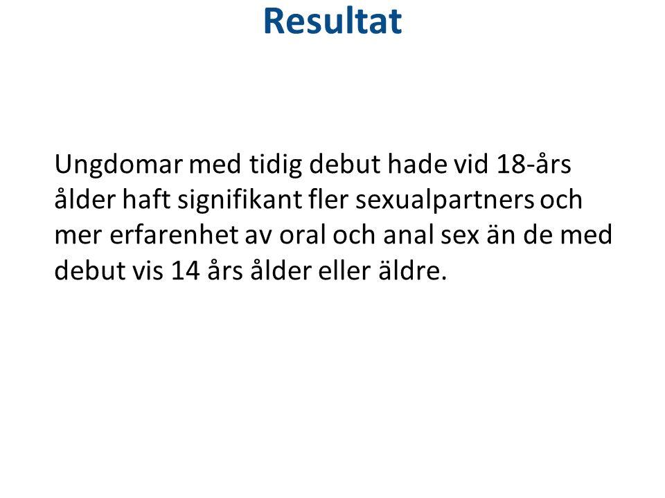 Resultat Ungdomar med tidig debut hade vid 18-års ålder haft signifikant fler sexualpartners och mer erfarenhet av oral och anal sex än de med debut vis 14 års ålder eller äldre.