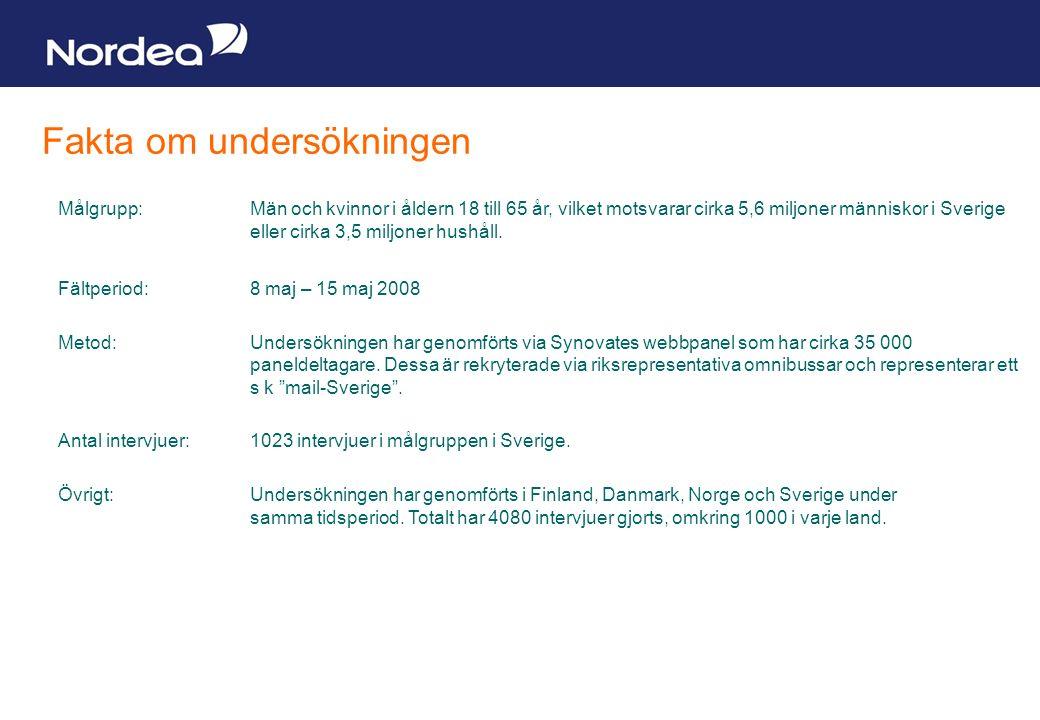 Sida 20 Fakta om undersökningen Målgrupp:Män och kvinnor i åldern 18 till 65 år, vilket motsvarar cirka 5,6 miljoner människor i Sverige eller cirka 3,5 miljoner hushåll.