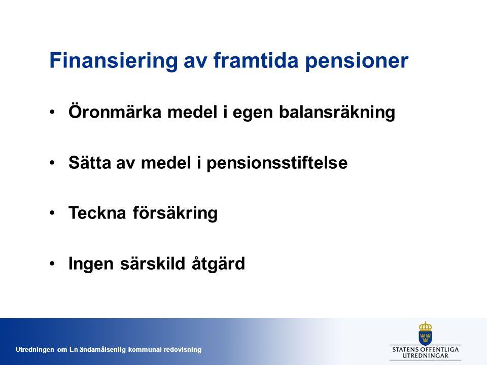 Utredningen om En ändamålsenlig kommunal redovisning Finansiering av framtida pensioner Öronmärka medel i egen balansräkning Sätta av medel i pensionsstiftelse Teckna försäkring Ingen särskild åtgärd