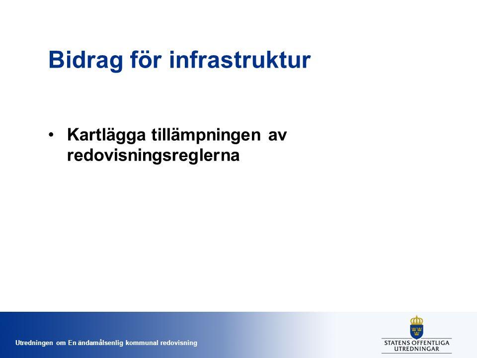 Utredningen om En ändamålsenlig kommunal redovisning Bidrag för infrastruktur Kartlägga tillämpningen av redovisningsreglerna