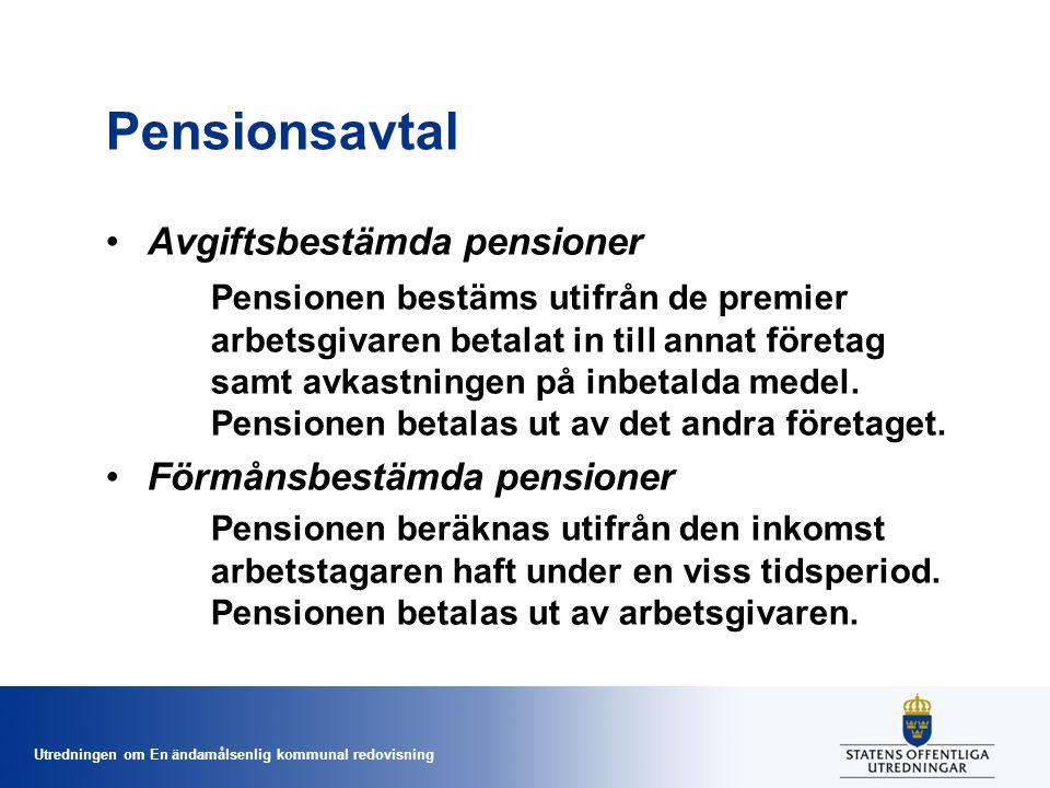 Utredningen om En ändamålsenlig kommunal redovisning Pensionsavtal Avgiftsbestämda pensioner Pensionen bestäms utifrån de premier arbetsgivaren betalat in till annat företag samt avkastningen på inbetalda medel.