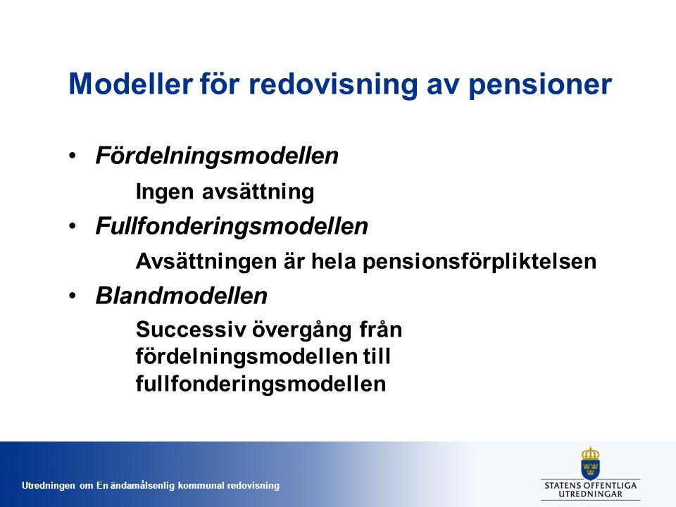 Utredningen om En ändamålsenlig kommunal redovisning Modeller för redovisning av pensioner Fördelningsmodellen Ingen avsättning Fullfonderingsmodellen Avsättningen är hela pensionsförpliktelsen Blandmodellen Successiv övergång från fördelningsmodellen till fullfonderingsmodellen