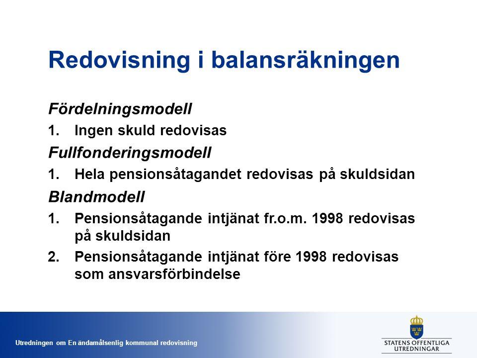 Utredningen om En ändamålsenlig kommunal redovisning Redovisning i balansräkningen Fördelningsmodell 1.Ingen skuld redovisas Fullfonderingsmodell 1.Hela pensionsåtagandet redovisas på skuldsidan Blandmodell 1.Pensionsåtagande intjänat fr.o.m.