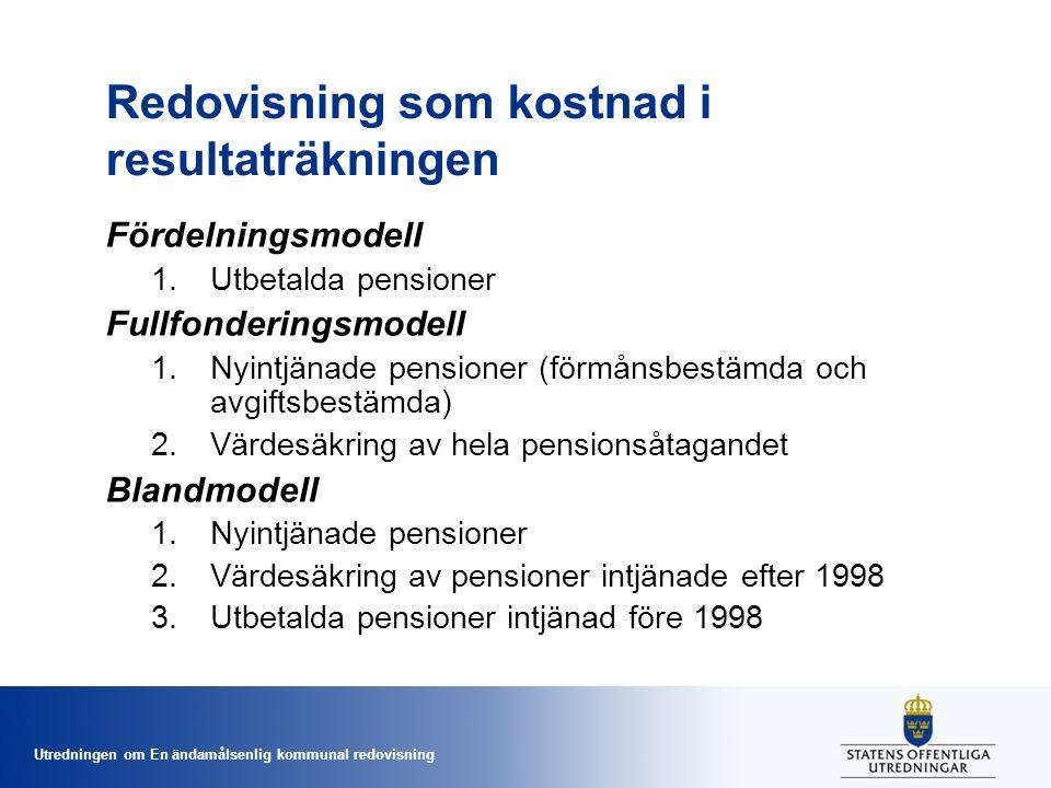 Utredningen om En ändamålsenlig kommunal redovisning Redovisning som kostnad i resultaträkningen Fördelningsmodell 1.Utbetalda pensioner Fullfonderingsmodell 1.Nyintjänade pensioner (förmånsbestämda och avgiftsbestämda) 2.Värdesäkring av hela pensionsåtagandet Blandmodell 1.Nyintjänade pensioner 2.Värdesäkring av pensioner intjänade efter 1998 3.Utbetalda pensioner intjänad före 1998