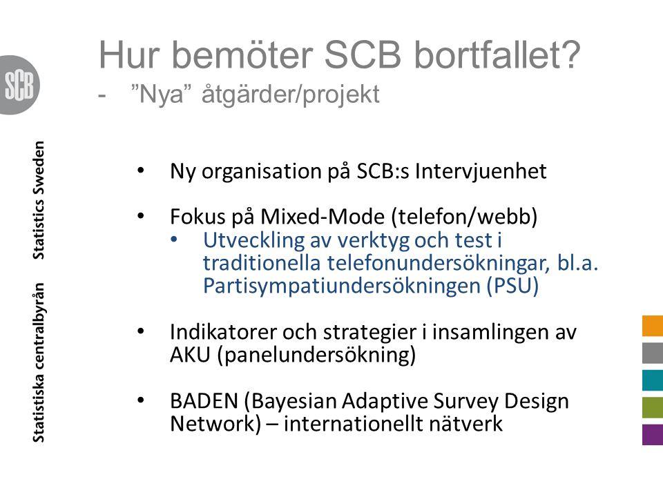 """Hur bemöter SCB bortfallet? -""""Nya"""" åtgärder/projekt Ny organisation på SCB:s Intervjuenhet Fokus på Mixed-Mode (telefon/webb) Utveckling av verktyg oc"""