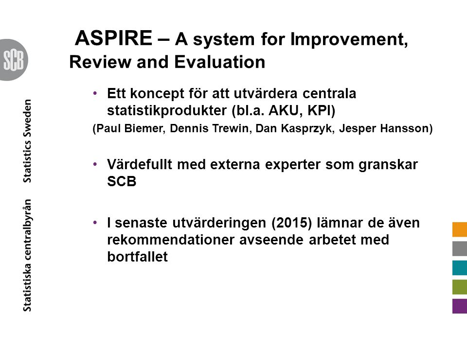 ASPIRE – A system for Improvement, Review and Evaluation Ett koncept för att utvärdera centrala statistikprodukter (bl.a. AKU, KPI) (Paul Biemer, Denn