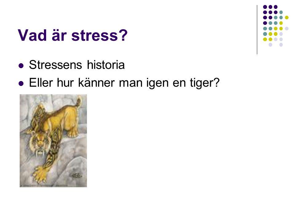 Vad är stress? Stressens historia Eller hur känner man igen en tiger?