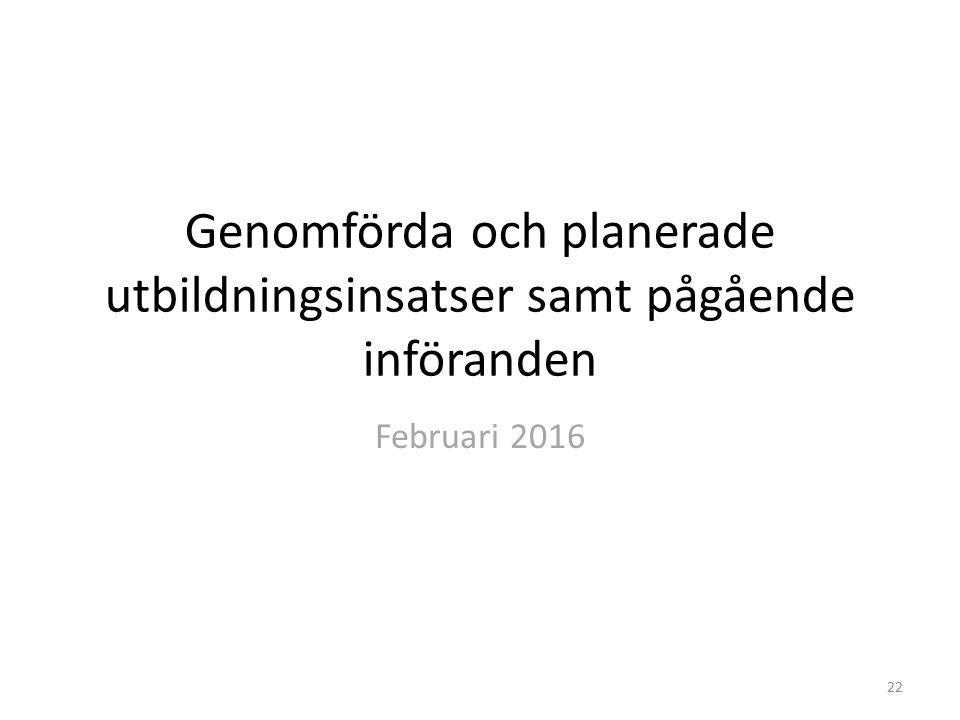Genomförda och planerade utbildningsinsatser samt pågående införanden Februari 2016 22