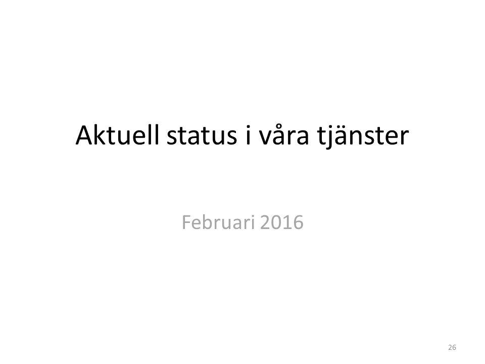 Aktuell status i våra tjänster Februari 2016 26