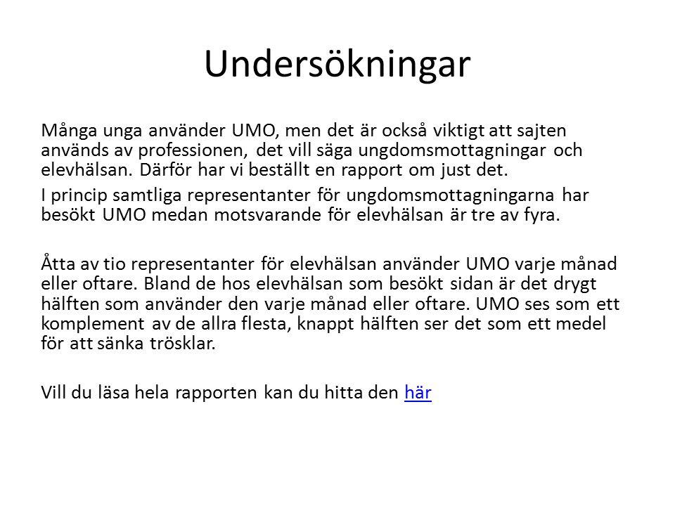 Undersökningar Många unga använder UMO, men det är också viktigt att sajten används av professionen, det vill säga ungdomsmottagningar och elevhälsan.