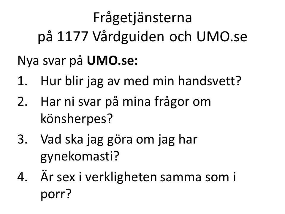 Frågetjänsterna på 1177 Vårdguiden och UMO.se Nya svar på UMO.se: 1.Hur blir jag av med min handsvett.