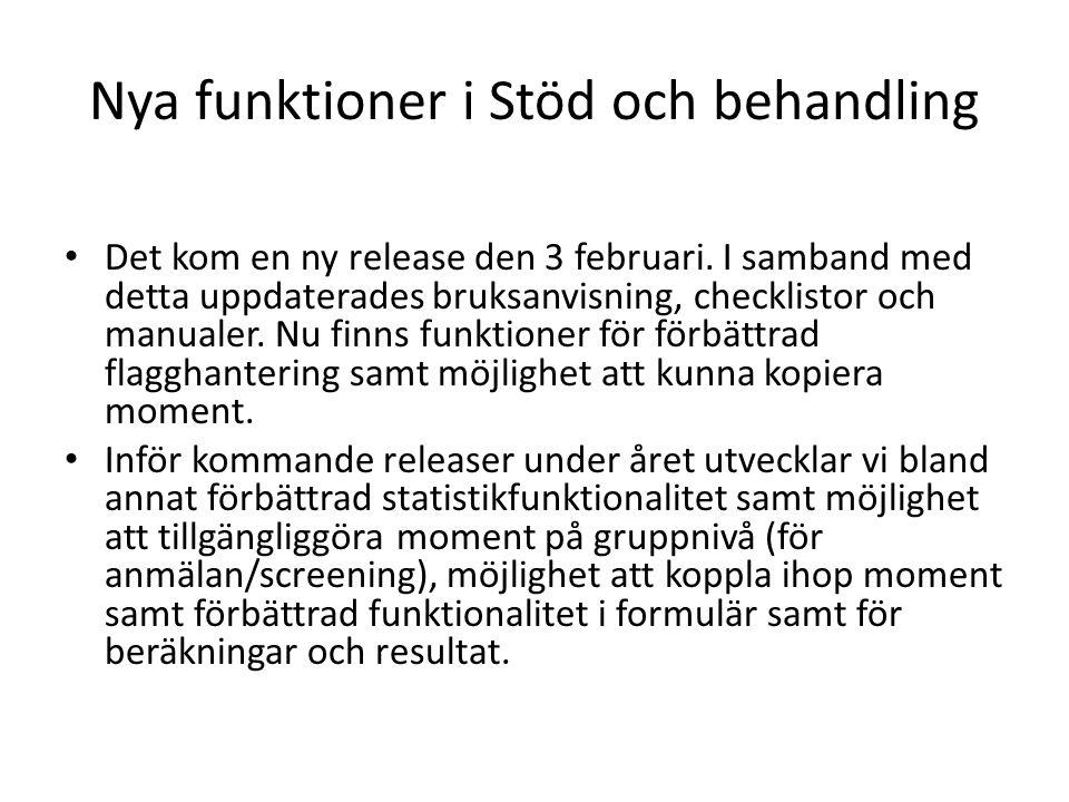 Nya funktioner i Stöd och behandling Det kom en ny release den 3 februari.