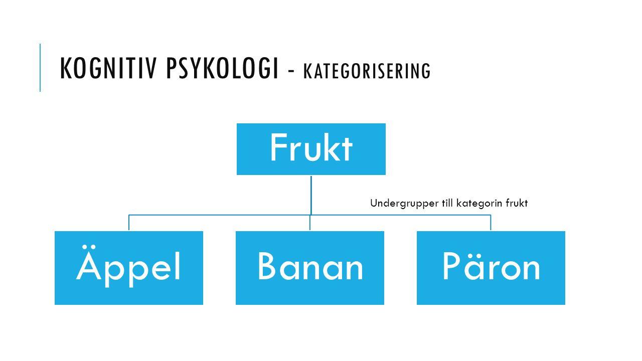 KOGNITIV PSYKOLOGI - KATEGORISERING Frukt ÄppelBananPäron Undergrupper till kategorin frukt