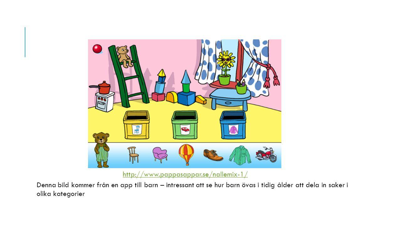 http://www.pappasappar.se/nallemix-1/ Denna bild kommer från en app till barn – intressant att se hur barn övas i tidig ålder att dela in saker i olik