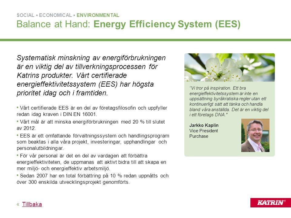 Systematisk minskning av energiförbrukningen är en viktig del av tillverkningsprocessen för Katrins produkter.