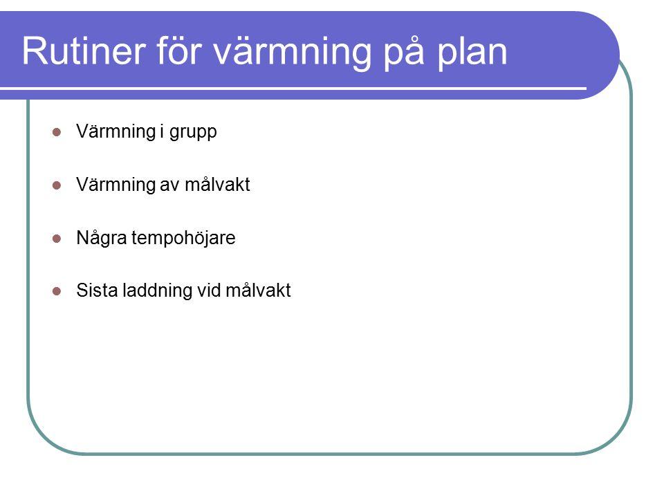 Rutiner för värmning på plan Värmning i grupp Värmning av målvakt Några tempohöjare Sista laddning vid målvakt