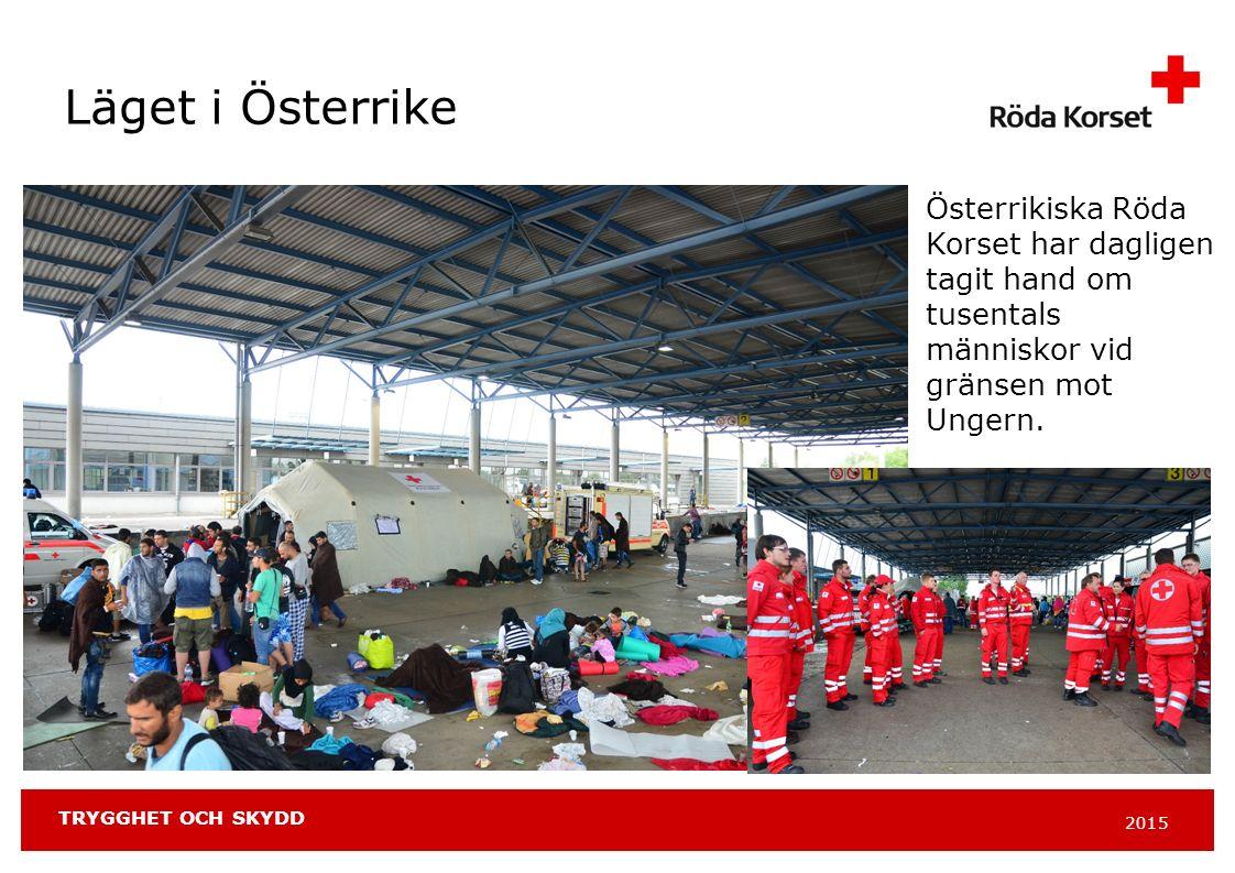 2015 TRYGGHET OCH SKYDD Läget i Österrike Österrikiska Röda Korset har dagligen tagit hand om tusentals människor vid gränsen mot Ungern.