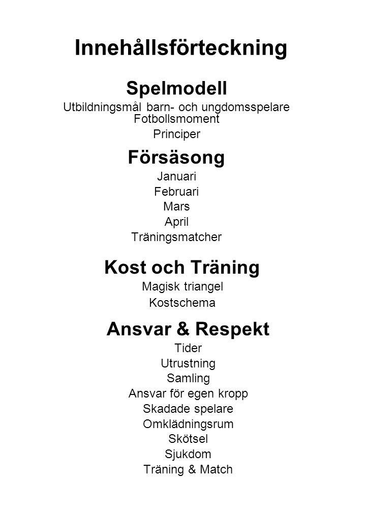 Innehållsförteckning Försäsong Januari Februari Mars April Träningsmatcher Ansvar & Respekt Tider Utrustning Samling Ansvar för egen kropp Skadade spe
