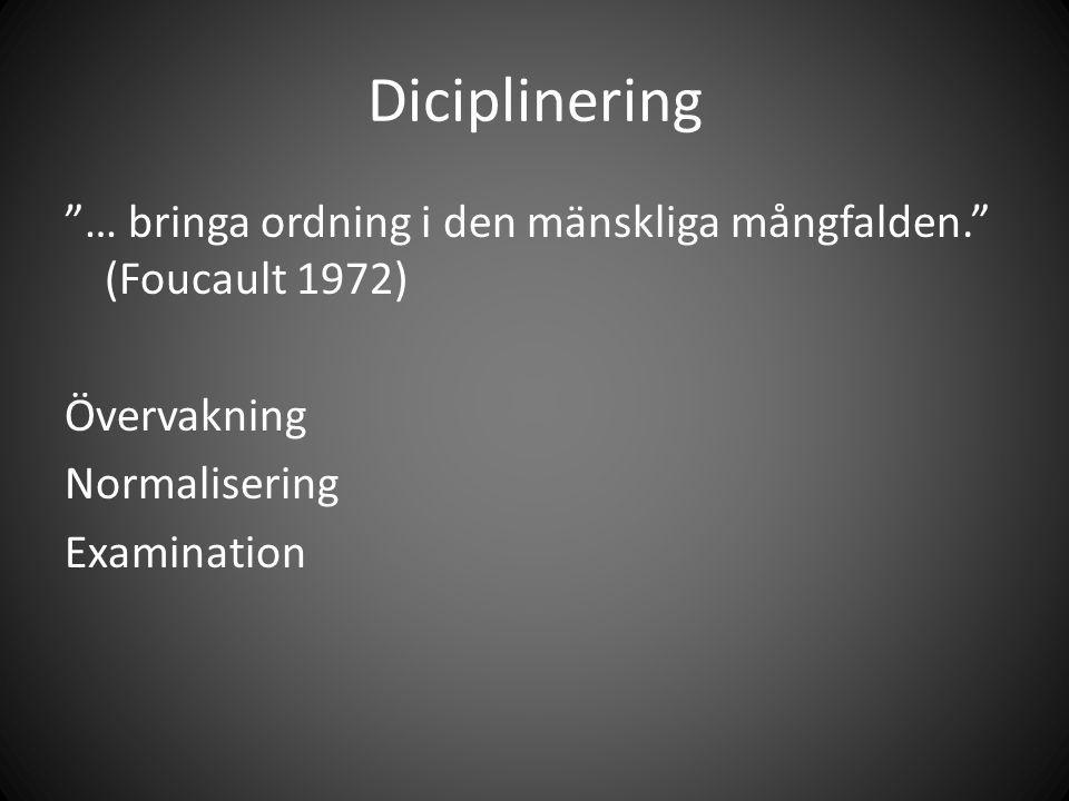 """Diciplinering """"… bringa ordning i den mänskliga mångfalden."""" (Foucault 1972) Övervakning Normalisering Examination"""