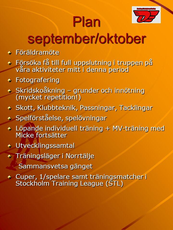 Plan september/oktober Föräldramöte Försöka få till full uppslutning i truppen på våra aktiviteter mitt i denna period Fotografering Skridskoåkning –